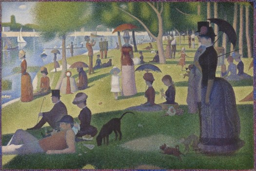 Groups of people spend their leisure time on Sunday alongside the banks of a river. Boats glide along the river while diverse groupings of people sit and stand, wandering the banks and the grove of trees in the background.