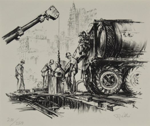 A lithograph of male construction workers standing as they pour the footing for the World Trade Center. Above them, a crane lowers material and next to them is a large truck, whose wheels are almost as tall as them. Rendered sketchily in the background is the NYC cityscape.