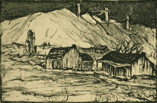 A bleak, featureless landscape showing the working conditions at a mine. The houses are askance, and there are no people in sight.
