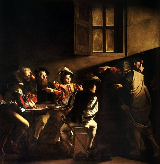 A dramatic, theatrical scene is created via lighting. Five men sit around a table, just off to the side of a window. Near them, another man stands next to a men pointing to one of the sitting men. In fact, one of the sitting men is pointing to his colleague, too! Dressed in similar fashion of doublet, hose, and cap, it shows the scene of the calling of St. Matthew.
