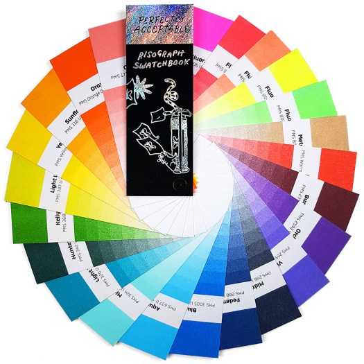 Swatches of inks available for artists to print with when using a Risograph.