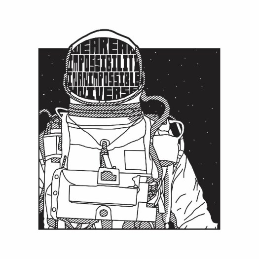 A pen and ink print of an astronaut, with stars in the background, and a Ray Bradbury quote in his helmet.