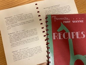 """A photograph of the """"Favorite Fort Wayne Recipes"""" from 1939."""