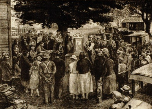 A lithographic print of an auction. The crowd gathers around a painting on display underneath a large tree. Cars and buildings can be seen in the background and foreground, while the auctioneer stands to one side of the artwork, his hands gesticulating as if he is speaking of its provenance.