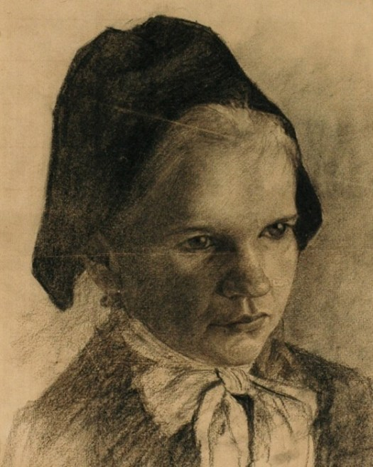 A portrait of a young Dutch girl portrays her head and shoulders. She wears a cap that covers her hair and a large white bow tied at the neck.