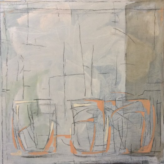 The finished canvas is an abstracted still life of lines and dark gray washes with a touch of orange for color.