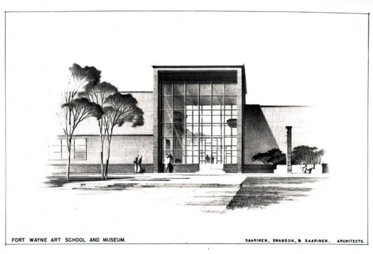 An image of the proposed Fort Wayne Art School and Museum, that never came to fruition, shows a long building with a front glass window extending to the roof and trees outside.