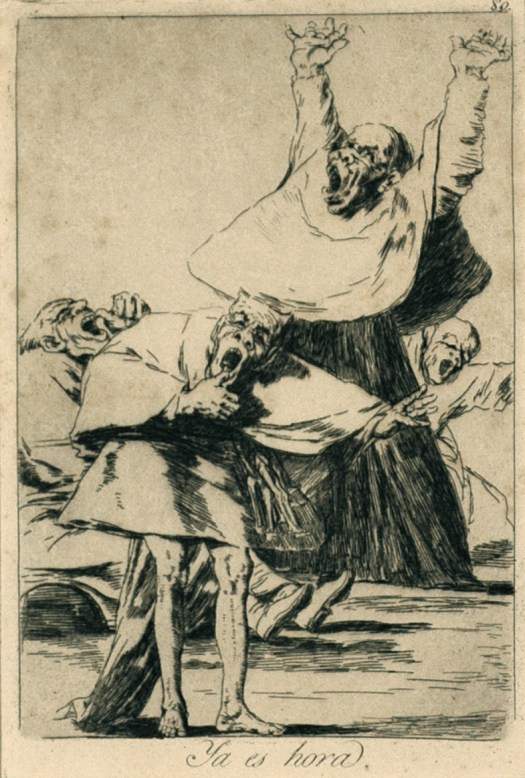Goya depicts four yawning clergymen whose faces are more grotesque and monster-like than pious.
