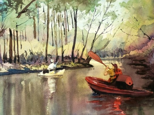 The finished work is a watercolor of two kayakers on a river surrounded by trees.