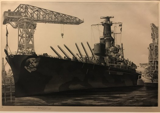 An etching of World War II battleship the USS Alabama shows it docked at harbor in Norfolk, Virginia. No people are shown; instead, the print focuses on the grandness of the ship itself.