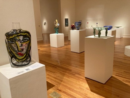 A gallery view of an exhibition currently on display, new acquisitions in glass at FWMoA.