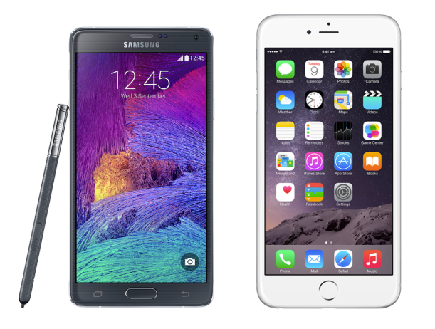 note 4 vs iphone 6 plus