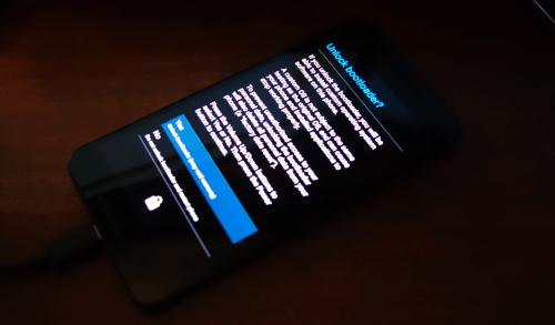 Nexus 6P bootloader unlock screen