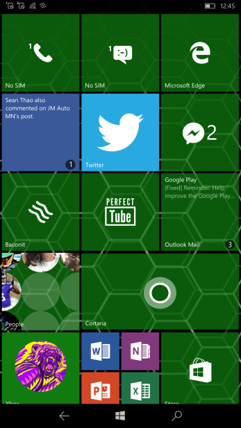 Lumia 950 XL theme home tiles