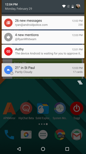 Android M notification compared to Android N