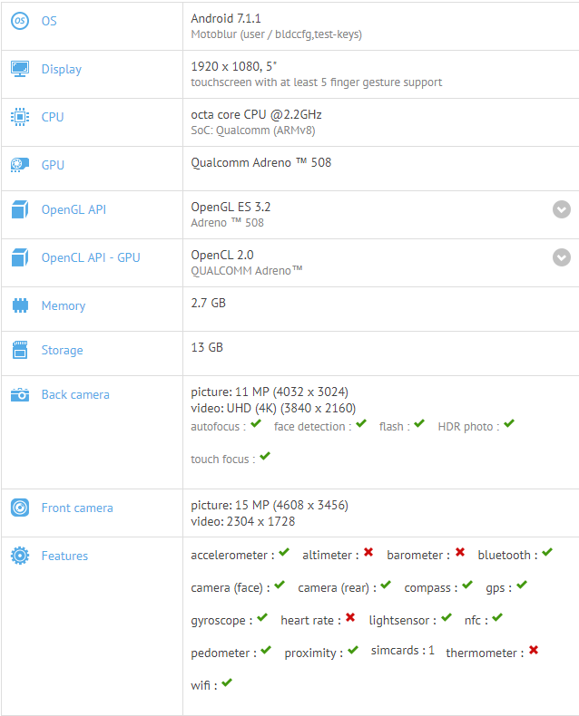 Moto X4 specs on GFXBench