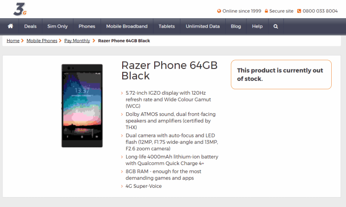 Razer Phone carrier leak