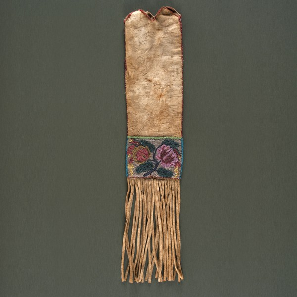 Plains Cree Beaded Hide Tobacco Bag Minnesota