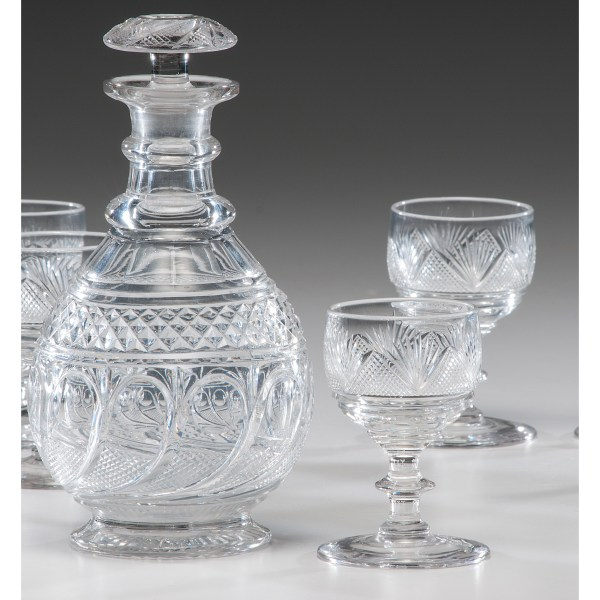 English Cut Glass Decanter And Sherries Cowan' Auction