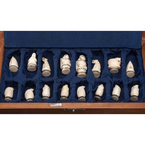 Alaskan Eskimo Walrus Ivory Chess Set With Case Cowan'