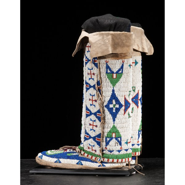 Arapaho Beaded Hide Moccasins With Matching Leggings