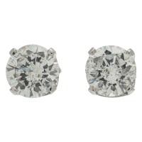 Two Carat Total Weight Diamond Stud Earrings in 14 Karat ...