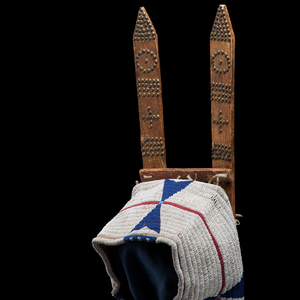 Cheyenne Beaded Buffalo Hide Cradle From an Important