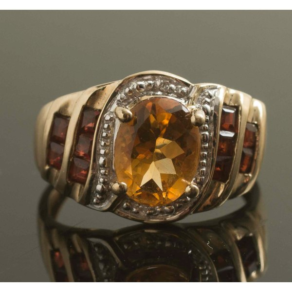 Citrine Diamond Garnet 10k Gold Ring Witherell'