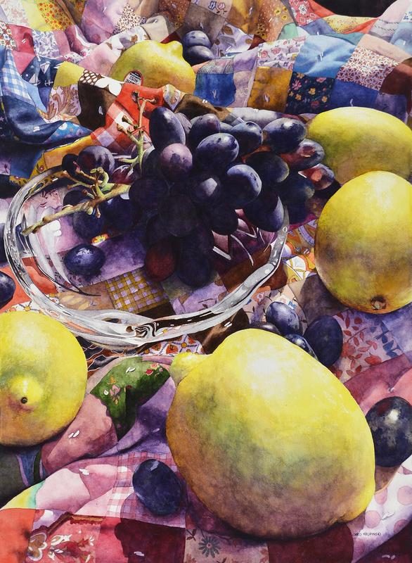 Lemons & Grapes on Quilt