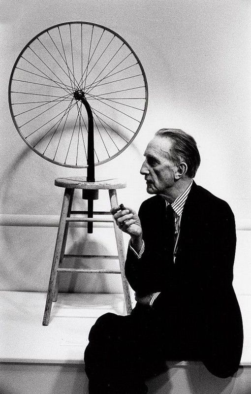 Marcel Duchamp with Bicycle Wheel, Ed. 14/15