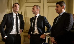 Μητσοτάκης Τσέφεριν Αυγενάκης κυβέρνηση UEFA