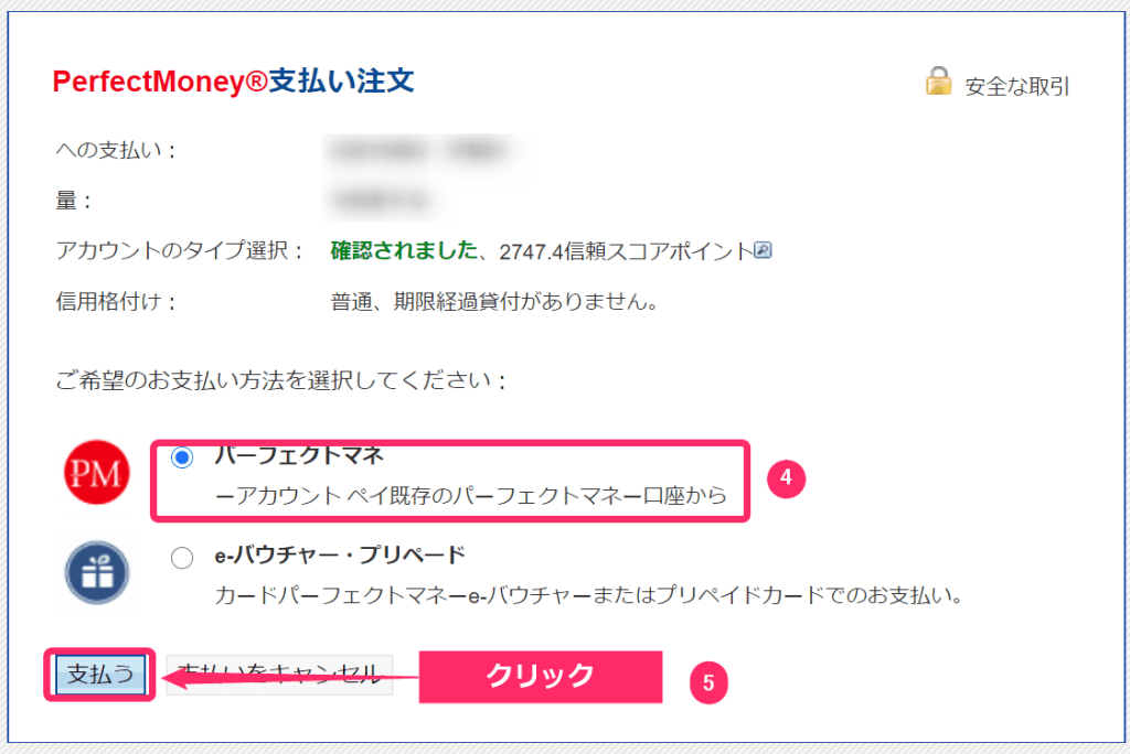 FBS Perfect Money 入金手順②
