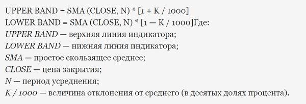 Формула Envelopes