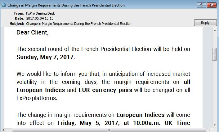 margin requirements during French Presidential Election 2017