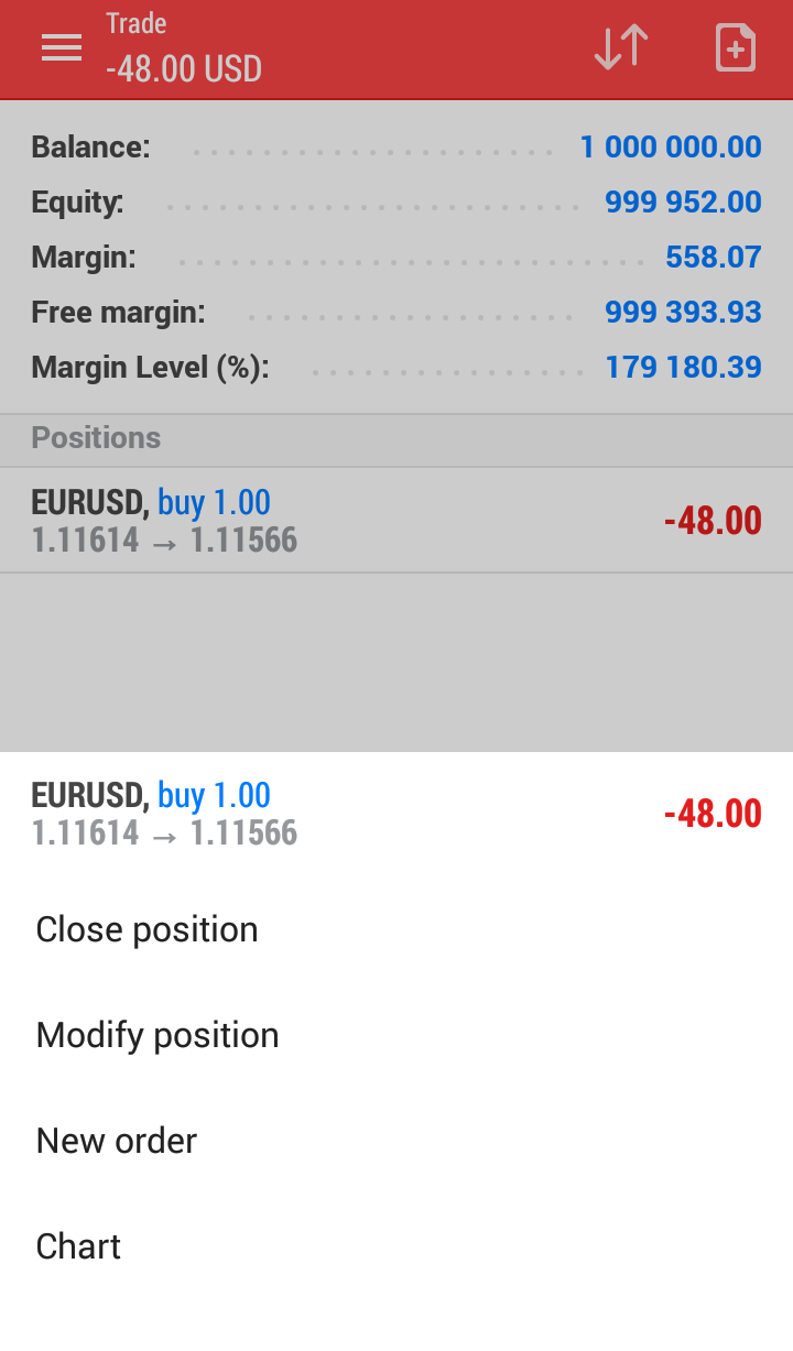 account balance feature metatrader 4/5 android app