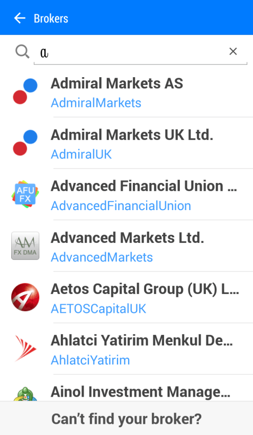 brokers servers on mt4 mt5 android app