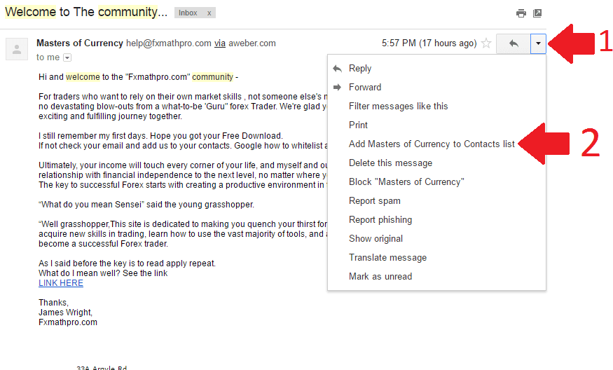 whitelist gmail