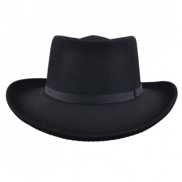 d85c883590b Baseball Ball Cap Hat. Mens Black Vintage 100 Wool Felt Crushable Gambler  Cowboy