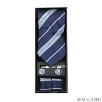 New Mens 4 Piece Tie Set Gift Box Cufflinks Pocket Square