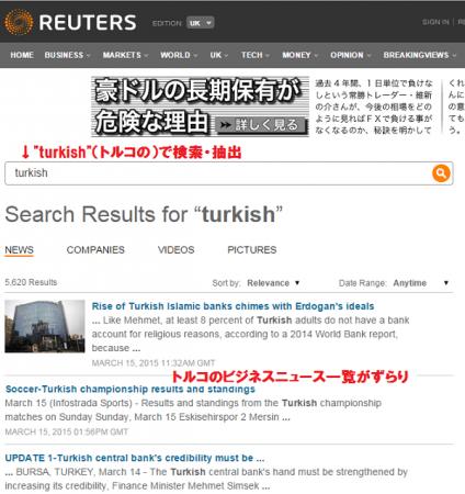 英国版ロイターのトルコニュース検索