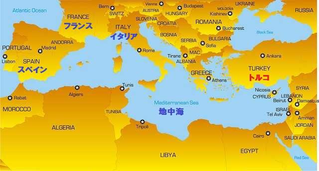 トルコと地中海の地図