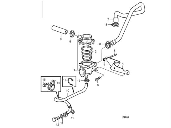 Volvo Penta D3 Crankcase Breather Insert, Part Number 21368879