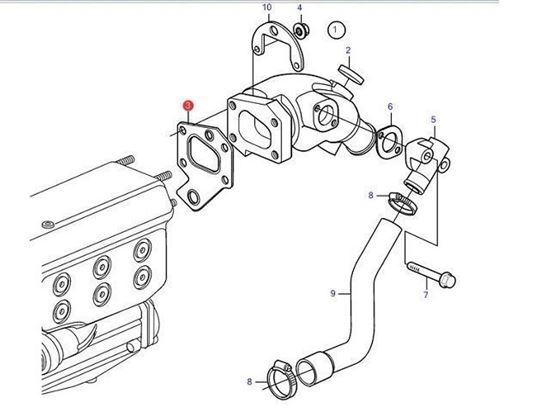 Volvo Penta D2-55, D2-50, D2-60 Exhaust Elbow Gasket, Part