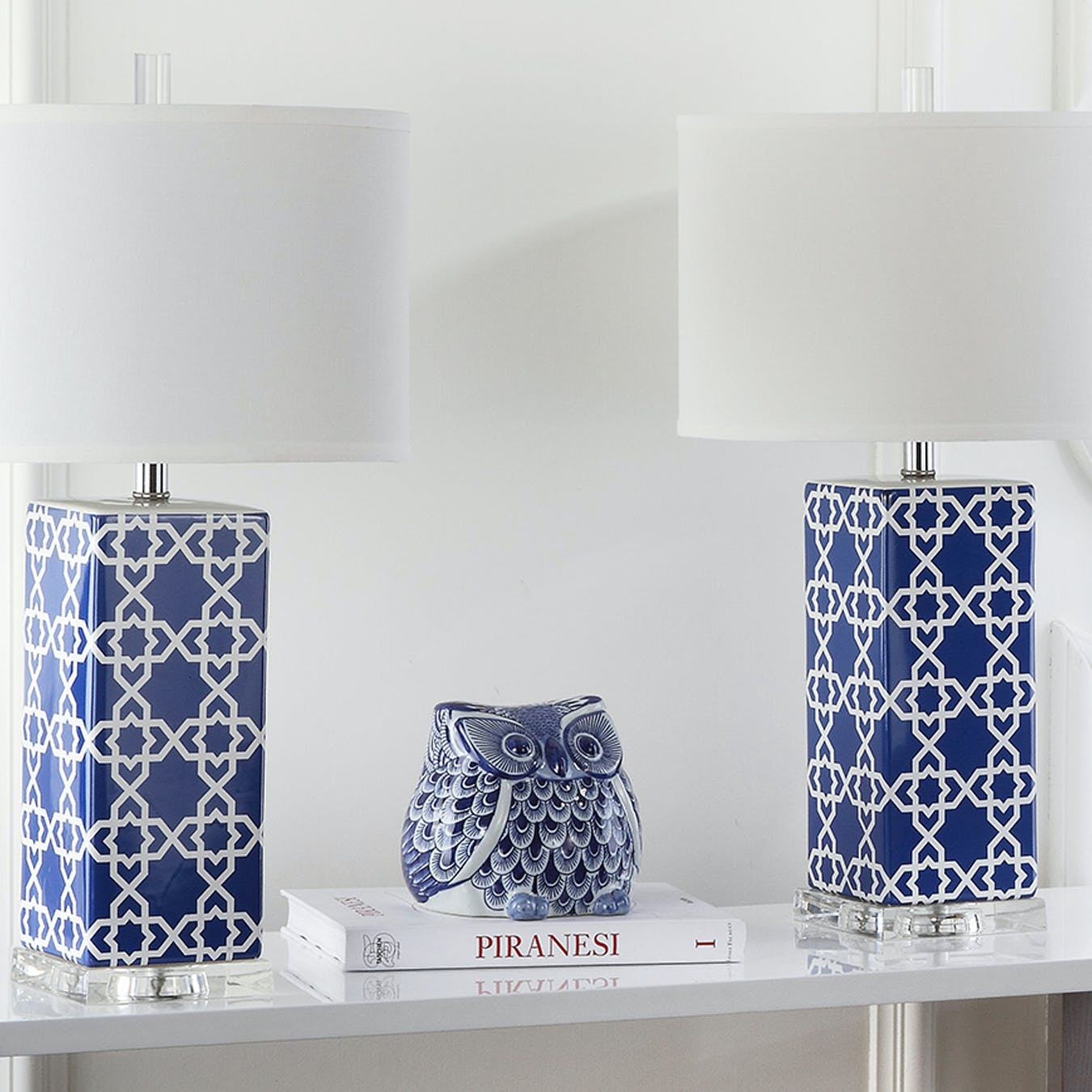 Ceramic Table Lamp In Navy Moroccan Pattern Set Of 2 By Safavieh Fy