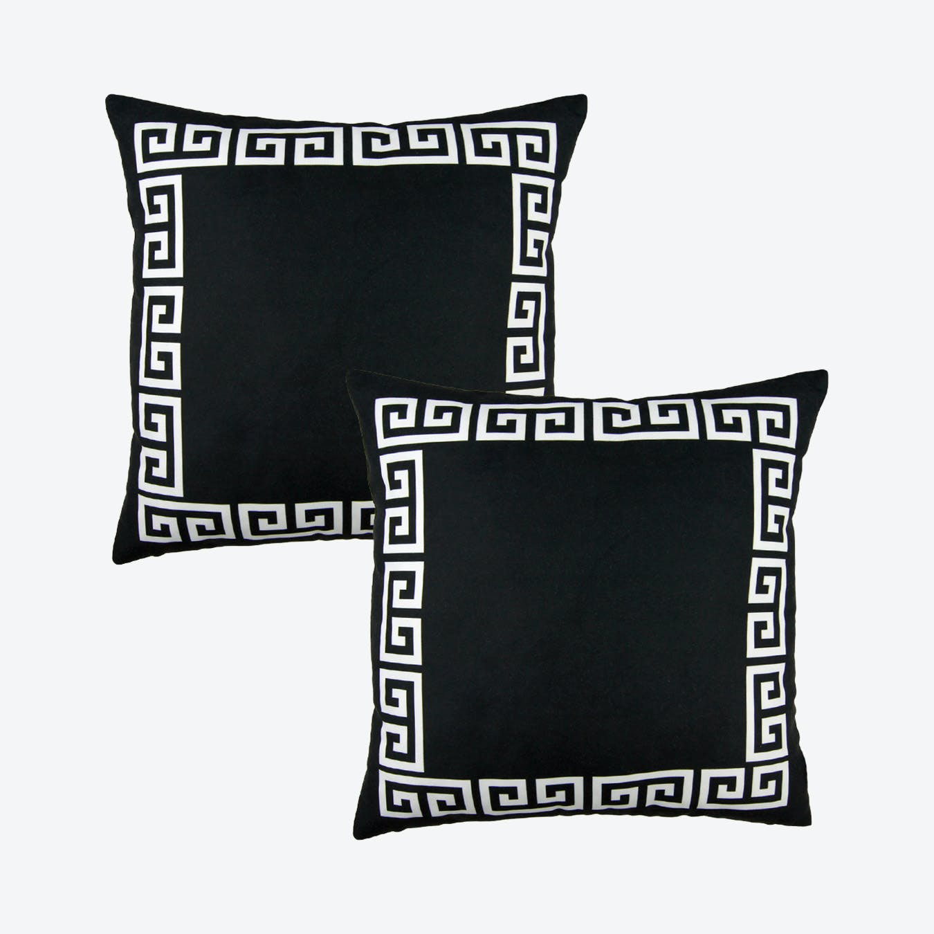 geometric greek key square throw pillow covers black white set of 2