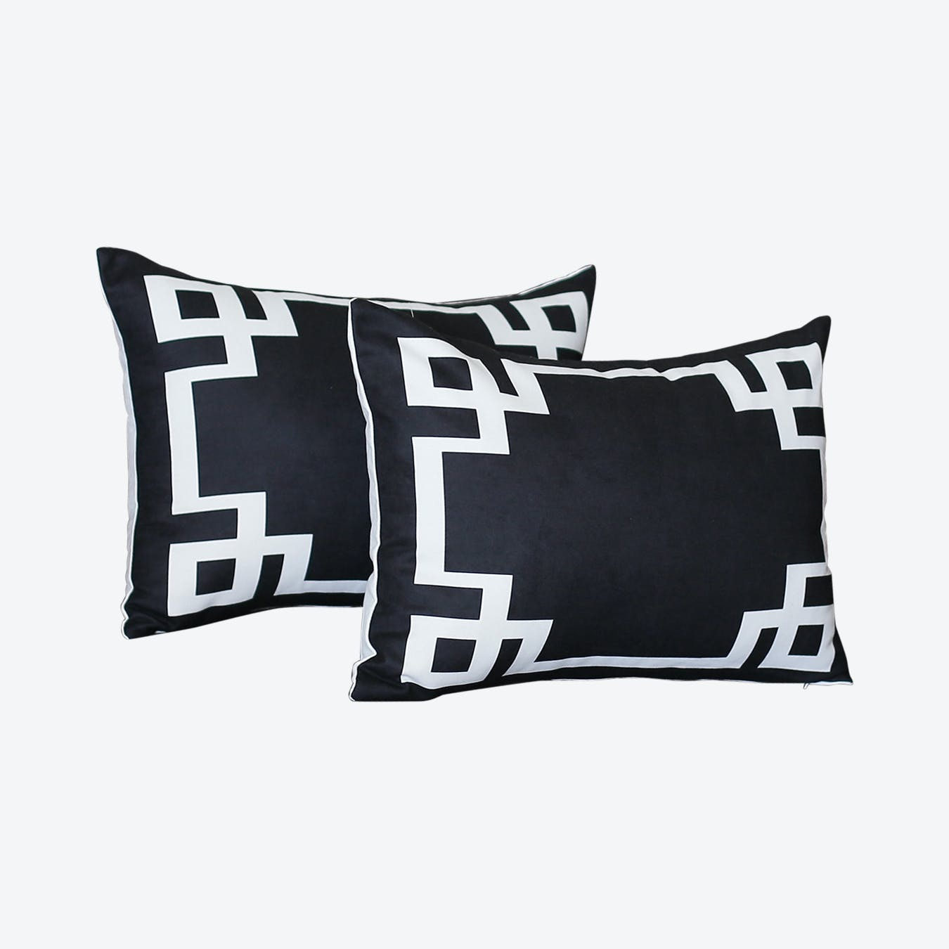 geometric rectangle decorative throw pillow covers black white set of 2