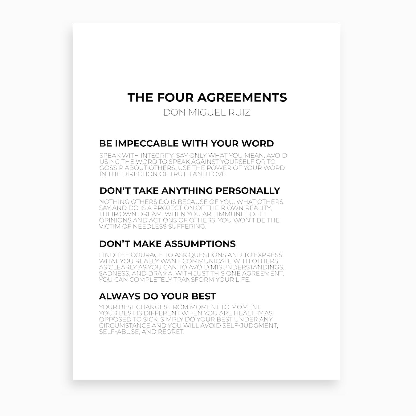 The Four Agreements Art Print By Typutopia Fy