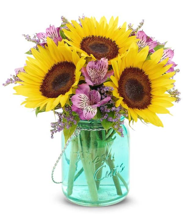 sunflower mason jar bouquet