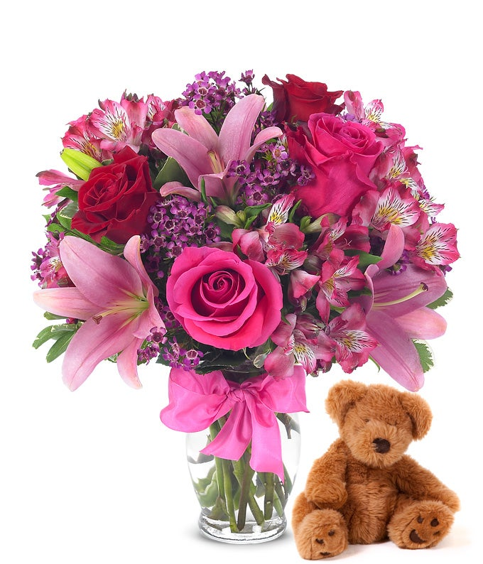 Rose Amp Lily Celebration With Bear At From You Flowers