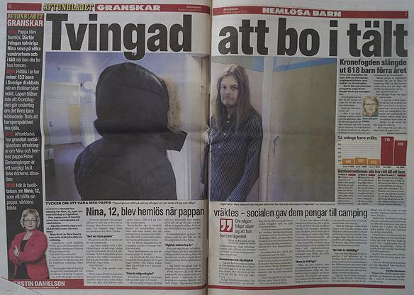 """Peter Ahborg är med i Aftonbladet söndagen 1 augusti 2010 sidorna 6 och 7. Aftonbladet granskar hemlösa barn. """"Nina, 12, blev hemlös när pappan vräktes - socialen gav dem pengar till camping, skriver Aftonbladet som granskar hemlösa barn."""